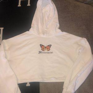 Bershka White Cropped Hooded Sweatshirt